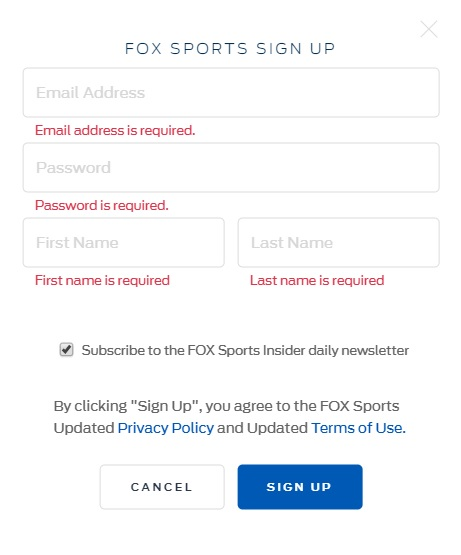 fox sports signup