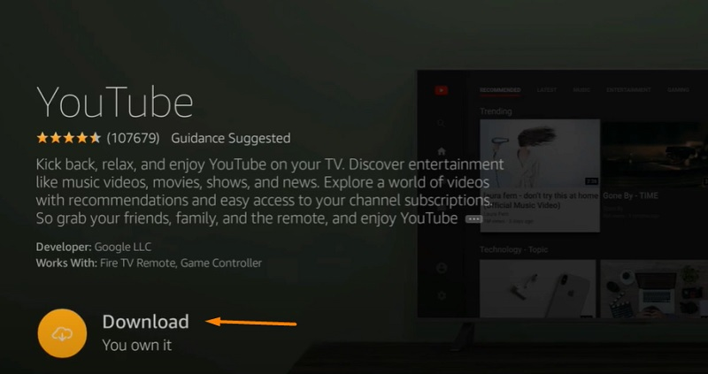 download youtube on fire tv