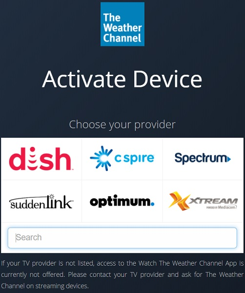 Activate Weather Channel on Firestick