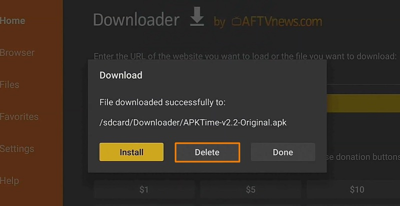 delete file of apk time on firestick