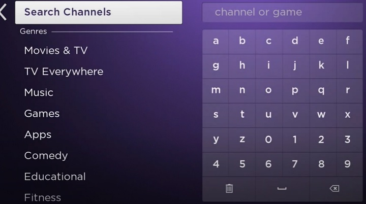 search channels on roku